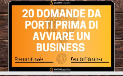 20 Domande da porti prima di avviare un Business | Il processo di avvio